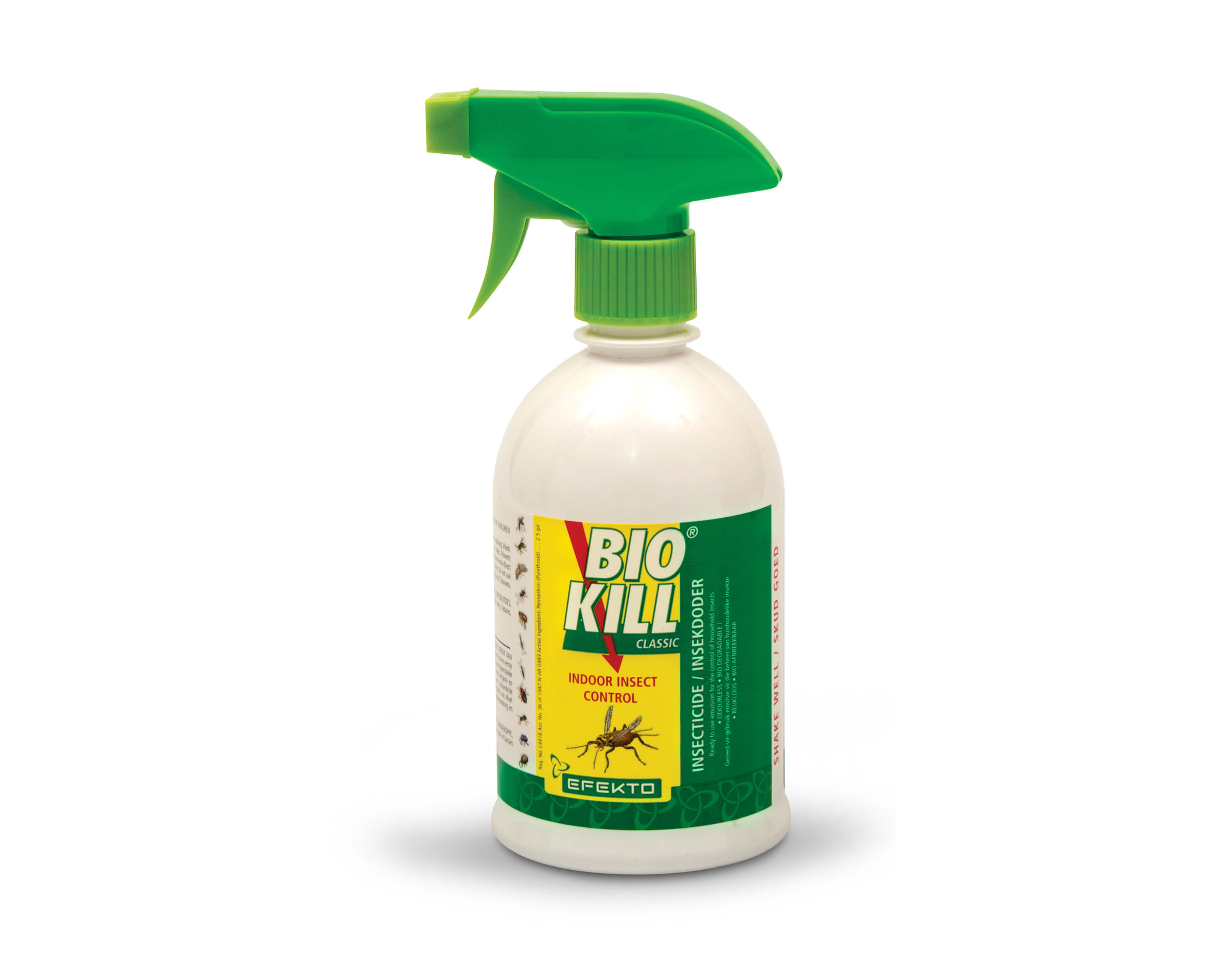 ready-to-use (no dilution necessary) for the control of: Ants. Fleas. Bedbugs. Spiders. Cockroaches. Ticks etc,