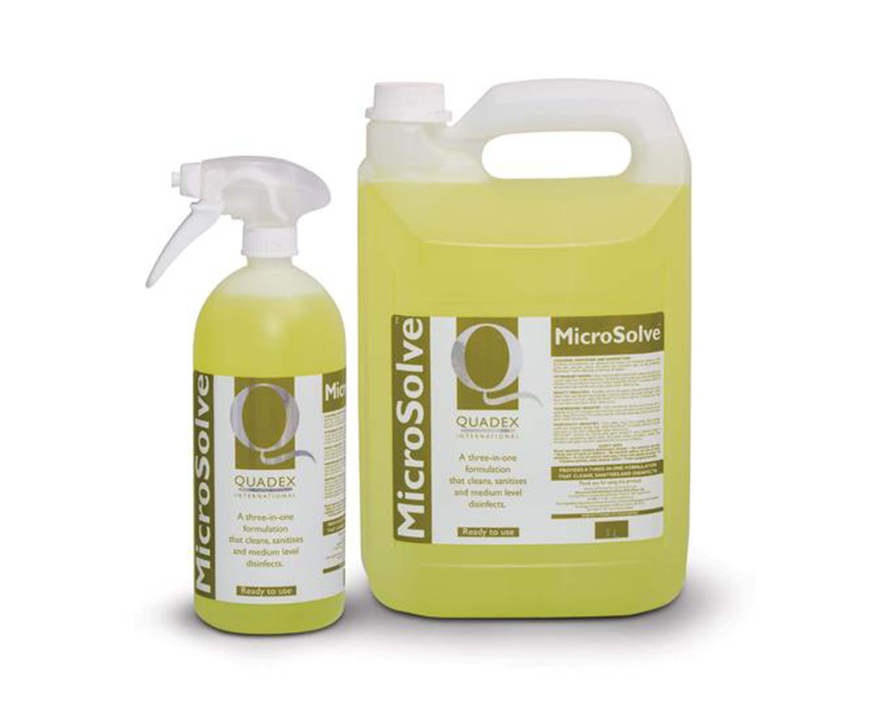 Microsolve - CLEANS, SANITISES & DISINFECTS IN ONE.